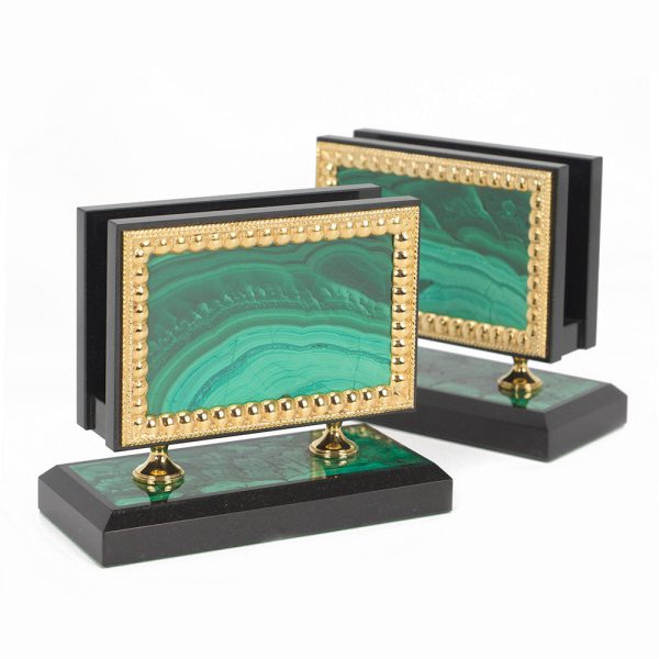 Pocket business card holders from precious malachite