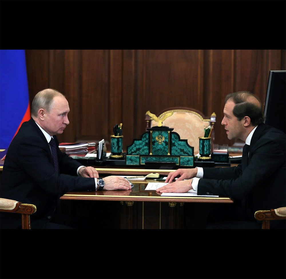 Office set made of natural stone handmade by Zlatoust craftsmen in the office of President of Russia Vladimir Putin.
