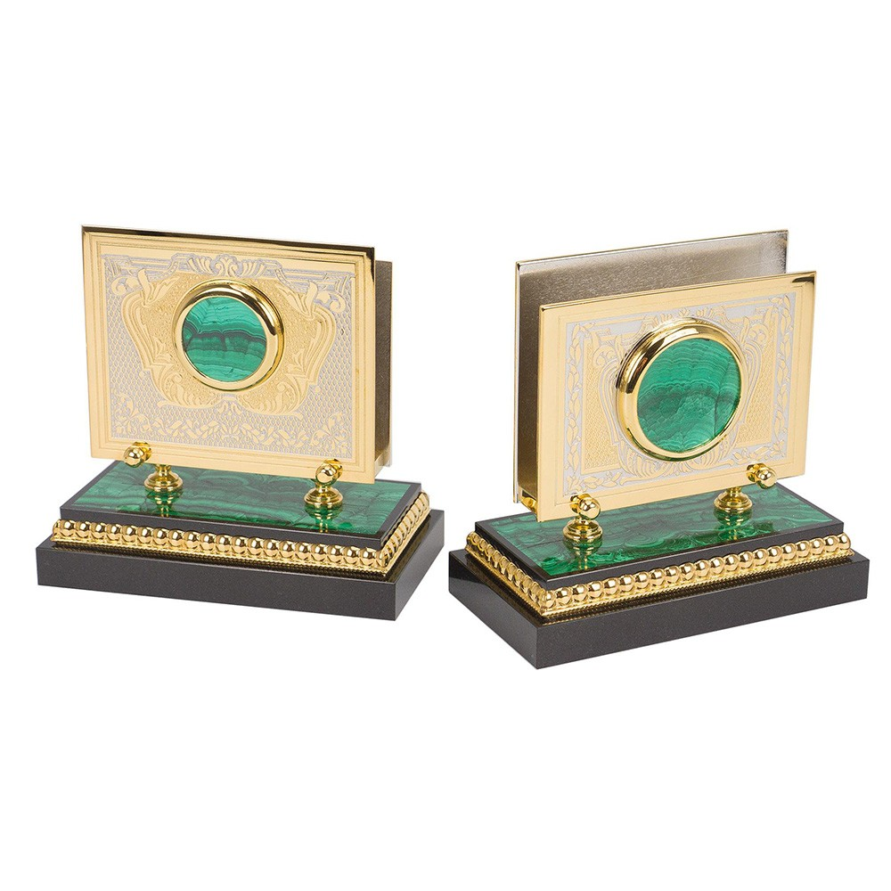 Gold business card holders for the desktop