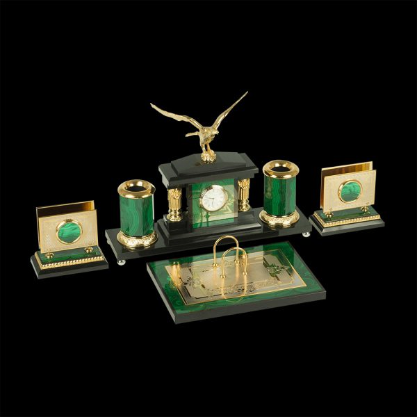 Golden eagle made of natural stone malachite and dolerite. The set includes a calendar, card holders, pencil boxes.
