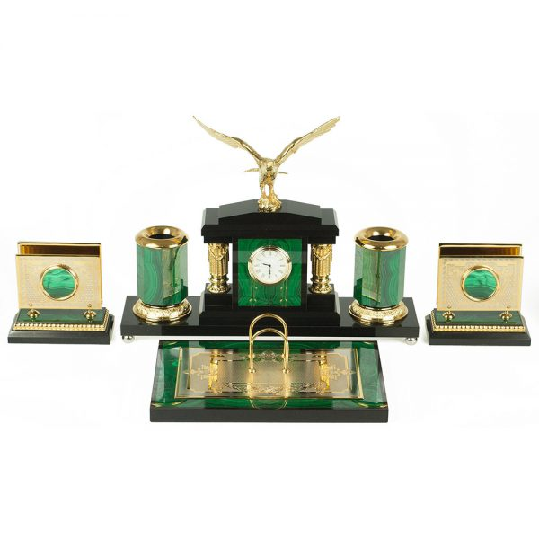 A writing set for a study. Made of green malachite stone and black dolletite stone