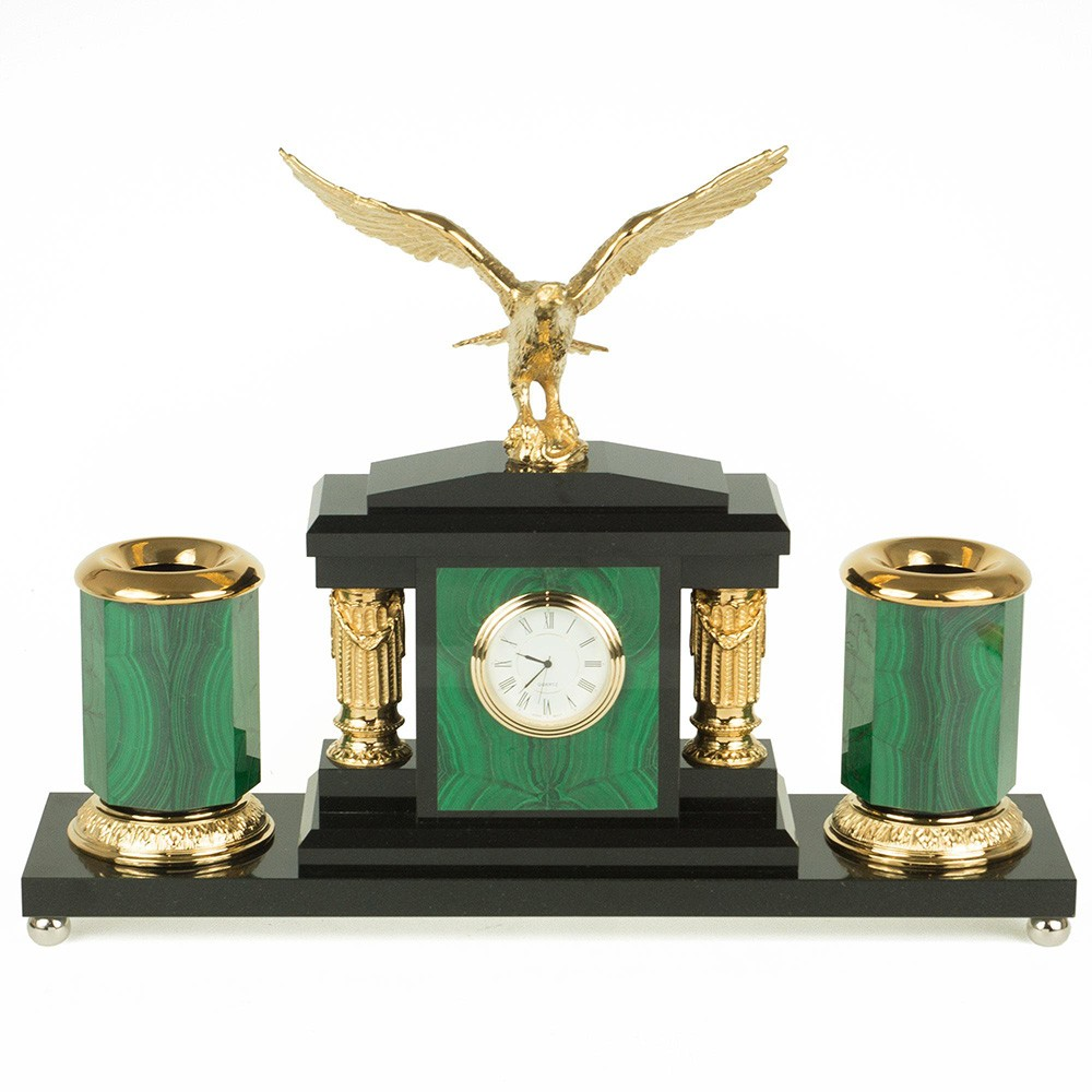 Malachite writing set with a clock