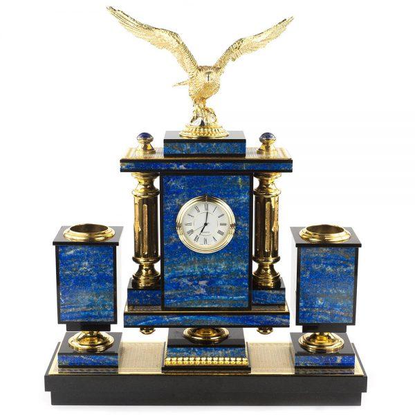 Golden eagle on writing set of lapis lazuli