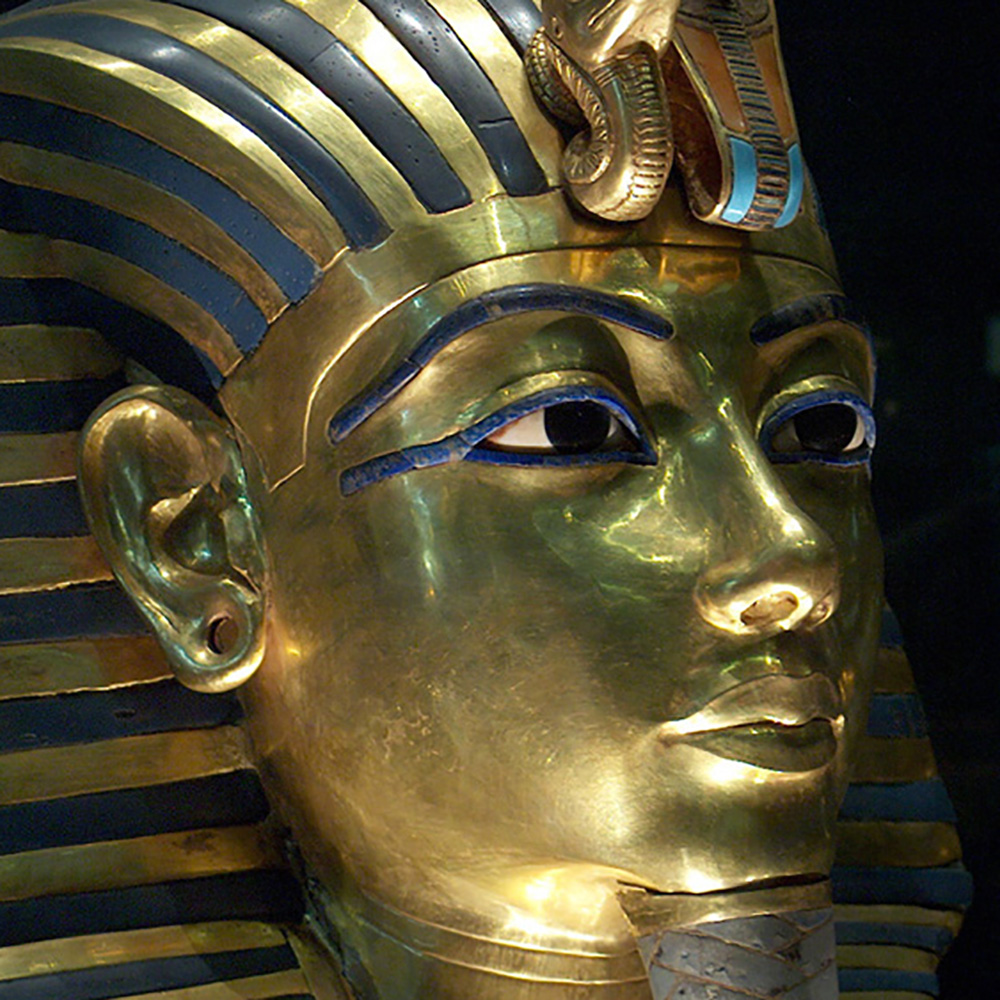 The sarcophagus of the pharaoh decorated with inserts from a natural stone of lapis lazuli