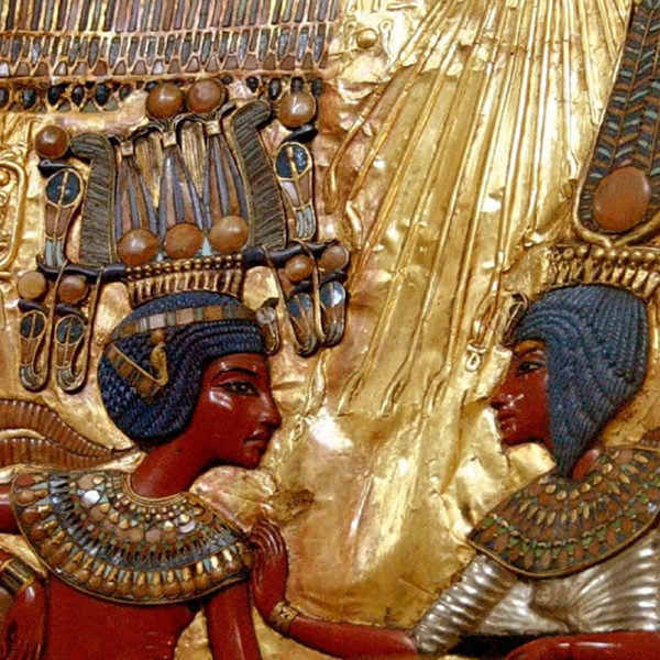 Egyptian images adorned with gold and lapis lazuli
