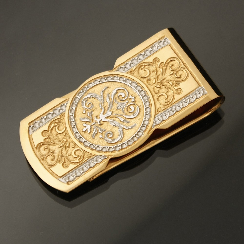 Gold money clip decorated with hand engraving