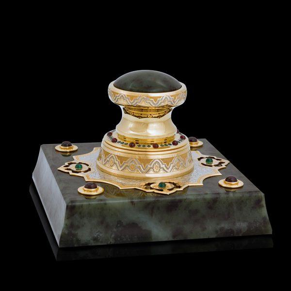 Handmade jade stamp embellished with jewelry stones.