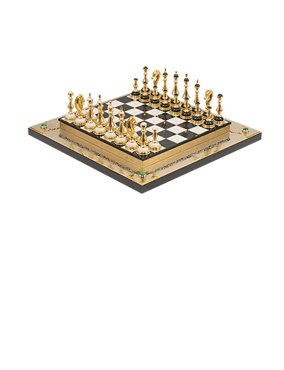 Stylish classic chess made of natural stone coated with gold and embossed engraving.