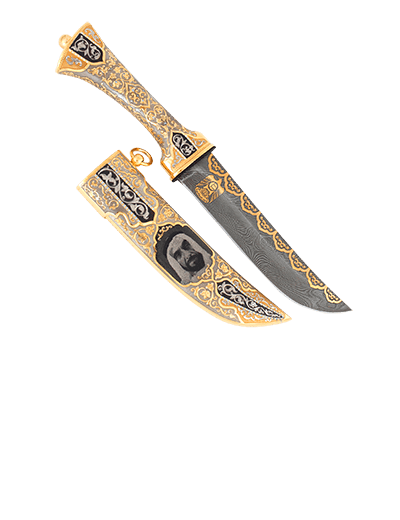 Knife Sheikh Zayed. Damascus golden knife with the image of Sheikh.