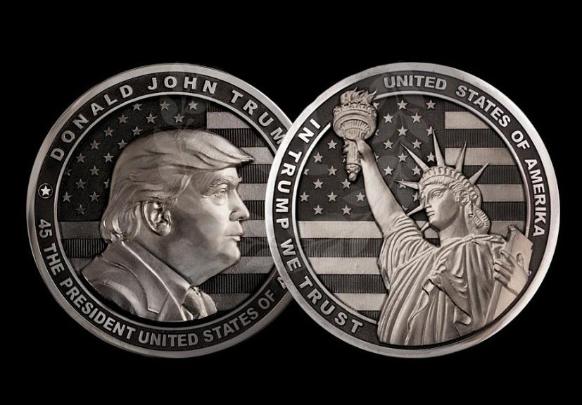 Handwork of Zlatoust masters - Big silver medal with the image of Trump