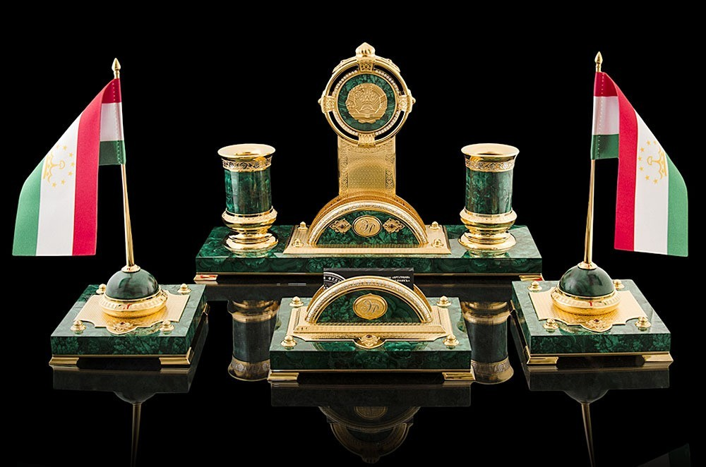 Writing Set for the President of Tajikistan - Malachite, Gold, Nickel, Metal