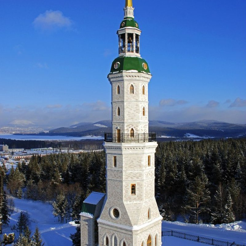 Photo of the city of Zlatoust. Winter landscape of the bell tower. Zlatoust - the city of masters