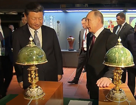 A gift from the president of Russia to the head of China. Jade lights