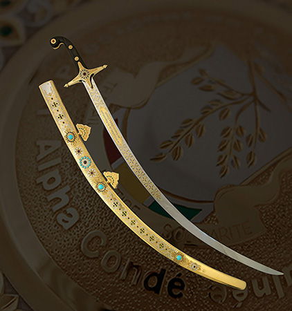 Handmade premium saber made by special order for the President of Guinea. Presidential Gifts