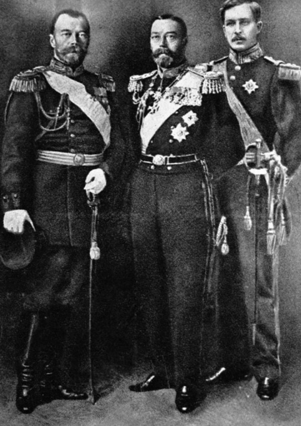 Russian Emperor Nicholas II (right), King of England Georg V (center) and King of Belgium Albert (left)